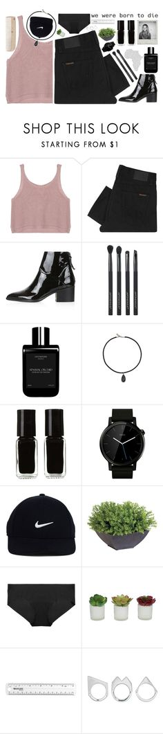 """"""" we were born to die """" by mllebond ❤ liked on Polyvore featuring Nudie Jeans Co., Topshop, Japonesque, LM Parfums, Vanessa Mooney, The New Black, Motorola, NIKE, Ethan Allen and Commando"""