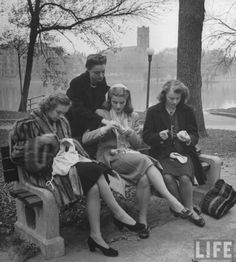 50's ballerinas sewing their pointe shoes in the park: LIFE Magazine archives