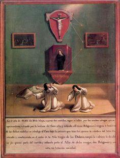Anónimo mexicano, Exvoto de una centella, convento concepcionista de México no identificado (¿Regina?), óleo sobre tela, 84 x 63 cm., 1840, colección: Museo Nacional del Virreinato-INAH, catalogación por Juan Carlos Cancino.