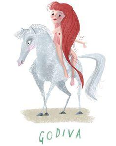 Godiva  -  -  -  -  -  #woman #retro #art #figure #books #photooftheday #girl #horse #illustration #retro #white #gouache #illustrator #children_illustrations #kidlitart #sketchbook #graphicnovel #design #naked #history #chalk #women #coventry #strong #strongwomen