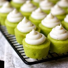 These vibrant Lime Baby Cakes are fun, ultra tasty, and completely addictive! Buttermilk makes these mini cupcakes dense and moist, and lime juice and zest give them zingy fresh citrus flavor. A swirl of cream cheese frosting on top offers the perfect creamy contrast.