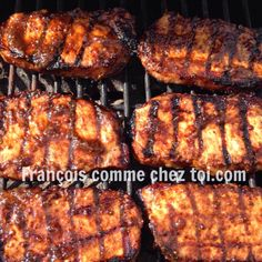 Pork loin chops on the BBQ- Pork loin chops on the BBQ – François Comme chez toi - Bbq Pork Loin, Pork Chop Marinade, Pork Loin Chops, Bbq Ribs, Bbq Meat, Meat Recipes, Food And Drink, Nutrition, Vegetarian