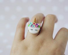 Unicorn ring, fantasy ring, polymer clay ring, rainbow ring, magical jewelry, unicorn jewelry, kawaii ring, cute unicorn ring, unicorn clay