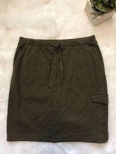 J.Jill Womens Summer Skirt Size Small Olive Green W/ Pockets    eBay