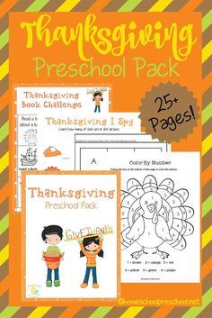 Get your kids in the holiday spirit with this fun Thanksgiving preschool pack. These pages will help your little ones practice counting, ABCs, handwriting and more. | http://homeschoolpreschool.net
