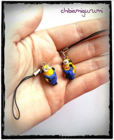 Minion phone / cell strap charm chibi in polymer by #Chibiamigurumi €5.95