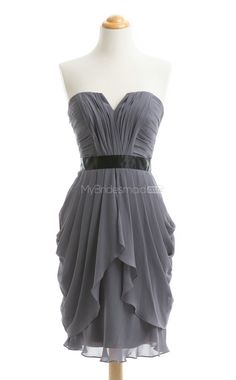 New Arrive Sliver A-Line Strapless Chiffon Bridesmaid Dress(BSD099) - MyBridesmaid.co.nz