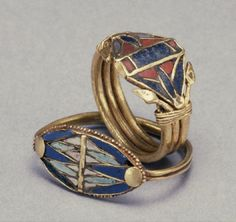 Rings with Lotus Flowers; Egypt | Gold with glass, lapis lazuli, and carnelian inlay,  | circa 1400-1200 BC (New Kingdom)