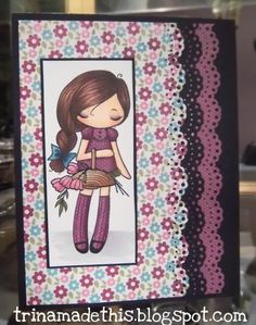 Trina Makes Stuff: Before the Day is Gone...  Everyday greeting card using a Copic-colored and paper pieced Miss Anya stamp from The Greeting Farm and an MS punch.