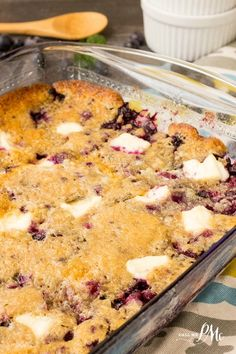 Blueberry Cream Cheese Dump Cake has got to be the easiest cake in the world to make. Fresh blueberries sit on the bottom with chunks of cream cheese scattered throughout. All this goodness is topped with a buttery cake layer.