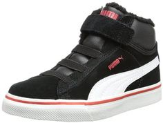 Puma Mid Vulc FUR V Kids 354143, Unisex - Kinder Hohe Sneakers, Schwarz (black-white-high risk red 06), EU 21 (UK 4.5), (US 5.5) - http://on-line-kaufen.de/puma/21-eu-puma-mid-vulc-fur-v-kids-354143-unisex-kinder