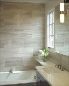 Beige bathroom ideas gray beige tile with white fixtures and dark vanity bathroom makeover vanities beige and dark beige bathroom pictures Small Bathroom Tiles, Beige Bathroom, Bathroom Flooring, Bathroom Ideas, Bathroom Remodeling, Shower Tiles, Basement Bathroom, Bathroom Cabinets, Vanity Bathroom