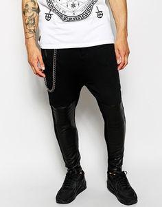 Black Kaviar Hareem Pants With PU Detail Miesten Verkkarit 4554d9a17e