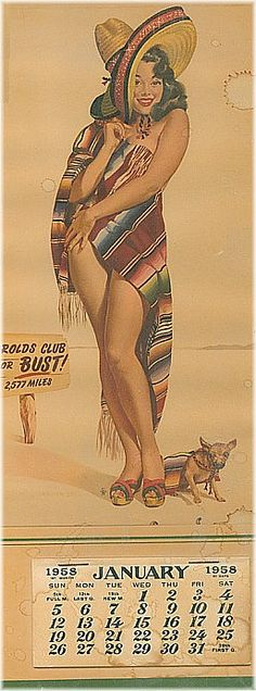 Harolds Club calendar from Pin Up Vintage, Vintage Art, Dibujos Pin Up, Mexican Artwork, Chicano Art, Chicano Tattoos, Calendar Girls, Nose Art, Pin Up Art