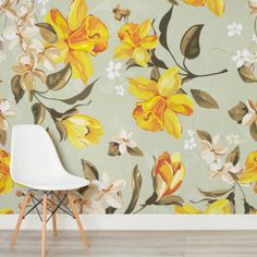 vintage-illustrated-daffodils-flowers-square-1-wall-murals
