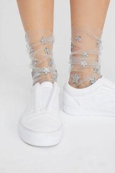 Fashion socks - How to Wear 6 of Fall's Biggest Trends at Work – Fashion socks Mesh Socks, Sheer Socks, Lace Socks, Heels With Socks, Sneaker Store, Glitter Stars, Glitter Lips, Red Glitter, Estilo Fashion