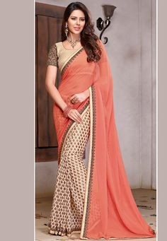 Buy Peach and Cream Faux Georgette and Faux Chiffon Saree with Blouse online, work: Embroidered, color: Cream / Peach, usage: Party, category: Sarees, fabric: Georgette, price: $61.85, item code: SGA5927, gender: women, brand: Utsav