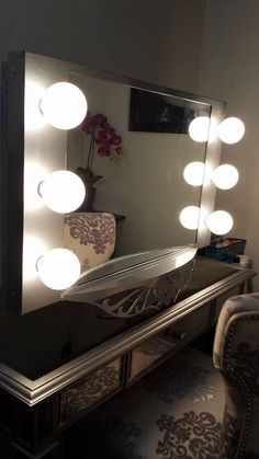 Makeup/Dressing Room/Vanity. #Vanity Girl Hollywood Makeup Mirror hung on a articulating TV mount so it can be pulled as close as needed for foundation/eye makeup. No second mirror needed. My husband is the best!