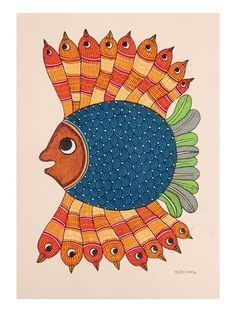 Buy Multi Color Fish Gondh Painting By Rajendra Shyam x Paper Acrylic Permanent Ink Art Decorative Folk of Good Fortune Tribal Gond from Madhya Pradesh Online a. Art Forms Of India, India Art, Hand Kunst, Kunst Der Aborigines, Indian Arts And Crafts, Fabric Painting, Painting Tips, Painting Art, Watercolor Painting