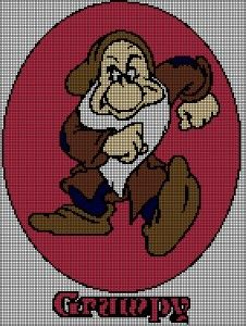 Afghans Grumpy Dwarf with Name Tunisian Simple Stitch Crochet Afghan Graph Pattern - Each square represents one stitch: knit, single crochet, afghan stitch, Tunisian, double crochet for tapestry and filet and you change colors accordingly Crochet Stitches Patterns, Afghan Crochet Patterns, Counted Cross Stitch Patterns, Blanket Patterns, Crochet Afghans, Crochet Squares, Crochet Blankets, Crochet Designs, Crochet Cross