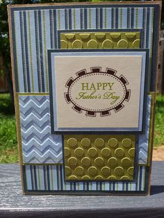 Fathers Day hand stamped, handmade card by Hillary Harris