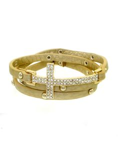 ZB0191-GOLD GOLD  Iced cross thin width faux leather wrap bracelet.    -plated base metal, crystal, faux leather  -buckle closure  -length: 20""