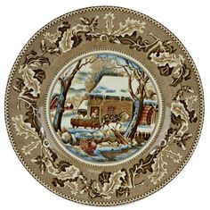 5 Thanksgiving Historic America Dinner Plates by Johnson Brothers Vintage English