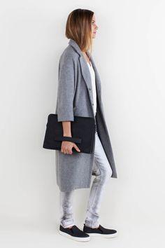 Drop Shoulder Coat - Granite | Emerson Fry