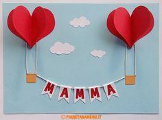 Mongolfiere a forma di cuore come lavoretto per la festa della mamma