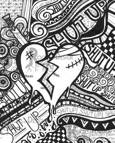 Instant Coloring Page Broken Heart Anti Valentine S Day Art Print Zentangle Inspired