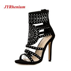 2018 New Spring Women Pumps Fashion Gladiator Thin Heels Flock High Heels  Peep Toe Crystal Rhinestones bb96696026a2
