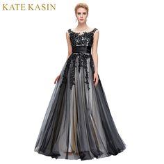 a9d8dd53a6e39b7 Халат De Soiree Longue пикантные Кружево аппликация Вечерние платья Длинные  бальное платье роскошный черный вечернее платье