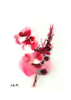Original Watercolor Abstract Flowers Painting Art by SophieRR, $18.00