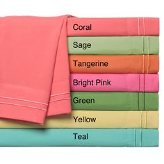 Dress your bed in color and comfort with the Hotel Collection double merrow sheet set available in a green, yellow, coral, bright pink, tangerine, sage and teal finish. Made of 100-percent polyester, this set is machine washable for easy care.