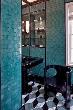 Hillcrest Estate mixed pattern Boy's Bathroom by kelly wearstler