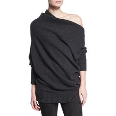 Donna Karan Off-The-Shoulder Cashmere Sweater ($1,695) ❤ liked on Polyvore featuring tops, sweaters, charcoal, cashmere sweaters, pullover sweater, off the shoulder sweater, off the shoulder tops and charcoal sweater