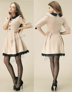 Autumn Winter Women's Slim Fit Delicate Doll Collar Sleeve Pleated Princess Dress With Belt Asian Fashion, Girl Fashion, Fashion Dresses, Womens Fashion, Dress Me Up, I Dress, Cheap Dresses, Cute Dresses, Girly Outfits
