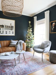 Dark and Moody Living Room Inspiration - Dark and Moody Office Space Decorated for Christmas Dark Living Rooms, Mid Century Modern Living Room, Eclectic Living Room, New Living Room, Mid Century Modern Furniture, Brown And Blue Living Room, Eclectic Furniture, Living Room Furniture, Furniture Design