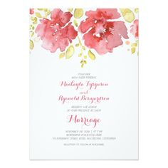 "watercolor floral romantic wedding invitations 5"" x 7"" invitation card"