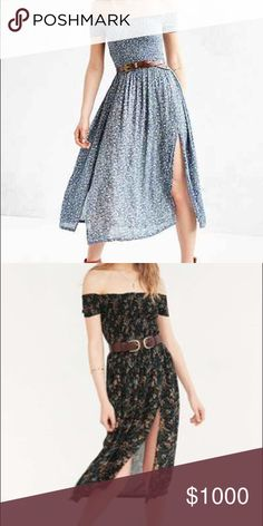 ISO Urban Outfitters Smocked Off th Shoulder Dress Looking for this in a small in the black or blue! (Not the peach.) please tag me if you see it!!! Brand is Kimchi Blue Urban Outfitters Dresses