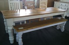 Rustic Plank  Top Pine Table 7ft 3u0027u0027 X 2ft 8u0027u0027 On