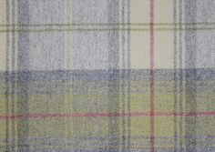 Woodford Plaid    £69.00 per metre    Wool tartan fabric in off white, greeny yellow and light grey  Usage Curtains and general domestic upholostery