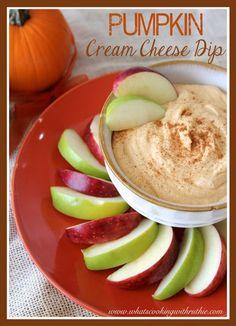 Pumpkin Cream Cheese Dip!  Fun Fall appetizer by whatscookingwithruthie.com #recipes #pumpkin #appetizer