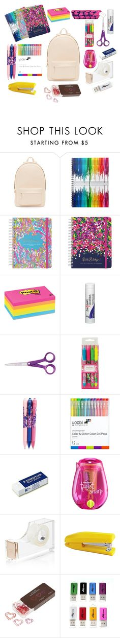 """Back to School"" by aleksandra-203 ❤ liked on Polyvore featuring PB 0110, Lilly Pulitzer, Post-It, Fiskars, Vera Bradley, Kate Spade and LEXON"