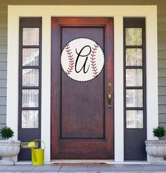 Baseball Initial Door Hanger – Shut The Front Door by Unique Textile Printing