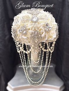 Custom Ivory Silk Flower Brooch Bouquet - $550 (PROMO SALE PRICE) - Black Friday Promo Sale Item (1 Only- This is the bouquet that you will receive) This is the only one left of this custom design. Co