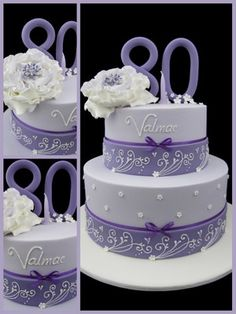 25 Ideas Purple Birthday Cake For Women Awesome 90th Birthday Cakes, 90th Birthday Parties, Birthday Cakes For Women, 80th Birthday Cake For Grandma, Birthday Cake For Women Elegant, 80 Birthday, Birthday Ideas, Fancy Cakes, Cute Cakes