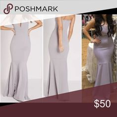 Strapless grey/gray mermaid prom dress Strapless grey/gray long mermaid dress. Form fitting. Size 6. True fit. No alterations except perfectly matching colored lace was added to mask cleavage. Can be Easily removed. 95% polyester, 5% elastane. Dresses Prom