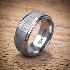 Meteorite Titanium Men's Wedding Band by spexton on Etsy, $860.00