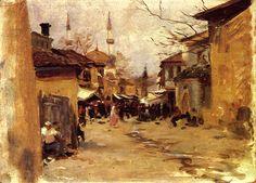 Arab Street Scene 1890 | John Singer Sargent | Oil Painting #OilPaintingLandscape